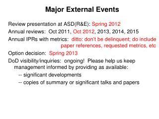 Major External Events
