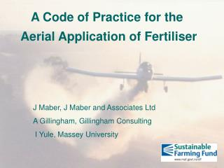 A Code of Practice for the  Aerial Application of Fertiliser