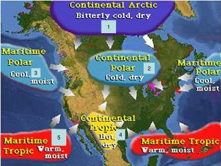 Air Mass – LARGE parcel of air taking on characterictics of the area over which it forms.