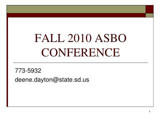 FALL 2010 ASBO CONFERENCE