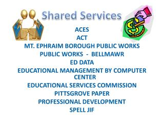 ACES  ACT   MT. EPHRAIM BOROUGH PUBLIC WORKS  PUBLIC WORKS  -  BELLMAWR   ED DATA  EDUCATIONAL MANAGEMENT BY COMPUTER CE