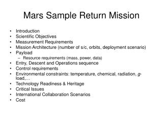 Mars Sample Return Mission