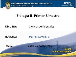 ESCUELA :                  Ciencias Ambientales