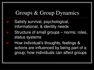 Groups & Group Dynamics