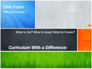 Curriculum With a Difference :