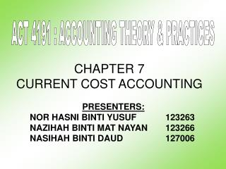 CHAPTER 7 CURRENT COST ACCOUNTING
