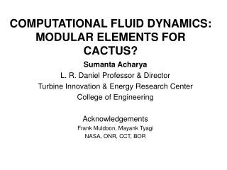 COMPUTATIONAL FLUID DYNAMICS:  MODULAR ELEMENTS FOR CACTUS?