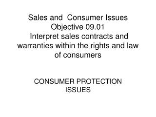 CONSUMER PROTECTION ISSUES