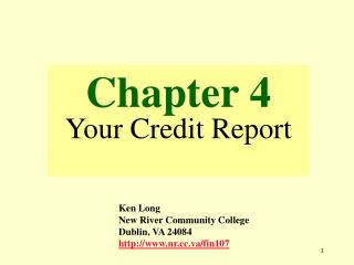 Chapter 4 Your Credit Report