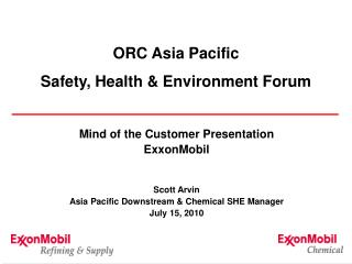 ORC Asia Pacific Safety, Health & Environment Forum