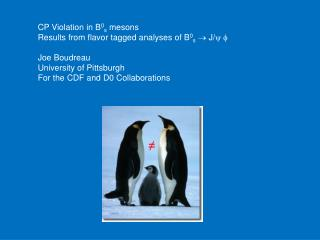 CP Violation in B 0 s  mesons Results from flavor tagged analyses of B 0 s   J/ y f Joe Boudreau