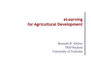 eLearning  for Agricultural Development