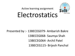 Active learning assignment Electrostatics
