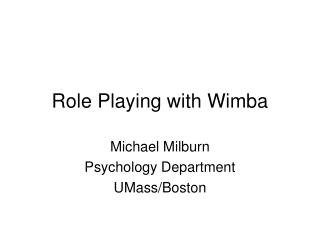 Role Playing with Wimba