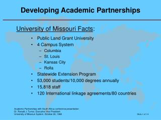 Developing Academic Partnerships