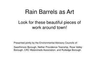Rain Barrels as Art