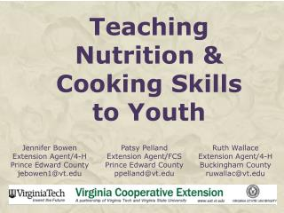 Teaching  Nutrition & Cooking Skills  to Youth