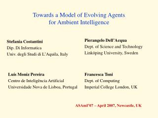 Towards a Model of Evolving Agents for Ambient Intelligence