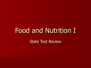 Food and Nutrition I