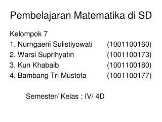 Pembelajaran Matematika di SD