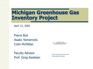 Michigan Greenhouse Gas Inventory Project