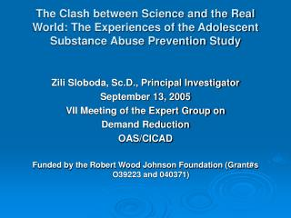 Zili Sloboda, Sc.D., Principal Investigator September 13, 2005 VII Meeting of the Expert Group on