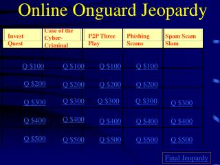 Online Onguard Jeopardy