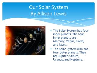 Our Solar System By Allison Lewis