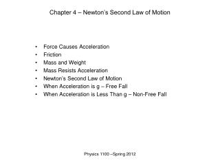 Chapter 4 – Newton's Second Law of Motion