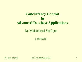 Concurrency Control in Advanced Database Applications
