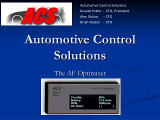 Automotive Control Solutions