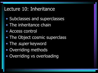 Lecture 10: Inheritance