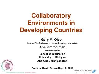 Collaboratory Environments in Developing Countries