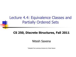 Lecture 4.4: Equivalence Classes and Partially Ordered Sets