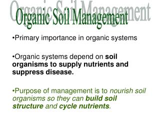 Primary importance in organic systems