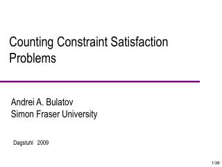 Counting Constraint Satisfaction  Problems