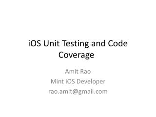 iOS  Unit Testing and Code Coverage