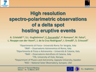 High  resolution spectro-polarimetric observations of  a delta spot   hosting  eruptive events