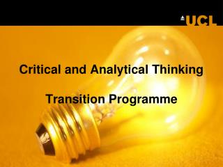 Critical and Analytical Thinking Transition Programme