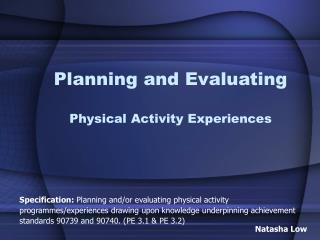 Planning and Evaluating Physical Activity Experiences
