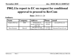 P802.11u report to EC on request for conditional approval to proceed to RevCom