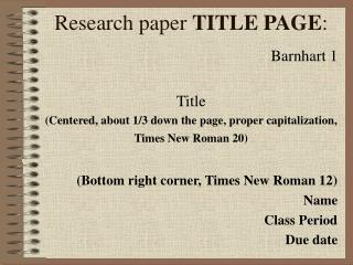 Research paper  TITLE PAGE :