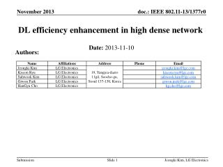 DL efficiency enhancement in high  dense network