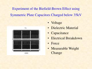 Experiment of the Biefield-Brown Effect using Symmetric Plate Capacitors Charged below 35kV