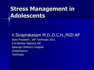 Stress Management in Adolescents