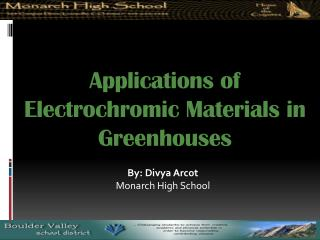 Applications of Electrochromic Materials in Greenhouses