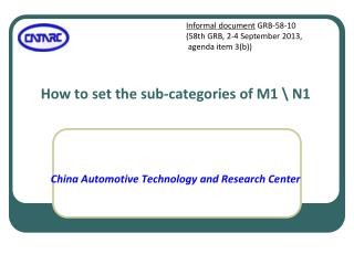 How to set the sub-categories of M1 \ N1