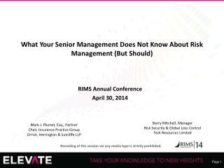 What Your  Senior Management Does  Not Know About Risk Management (But Should)