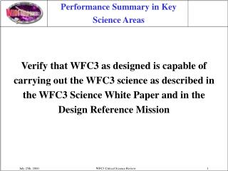 Performance Summary in Key Science Areas