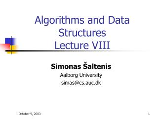 Algorithms and Data Structures Lecture VIII